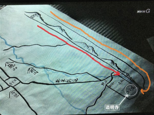 幸村の想定 黄色:家康進軍ルート(奈良大和路) 赤:秀忠進軍ルート(東高野街道)