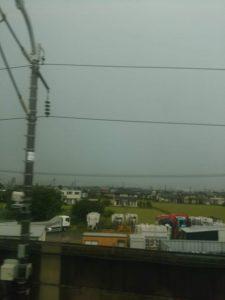 京都に近づくほど雨雲が濃くなっていく